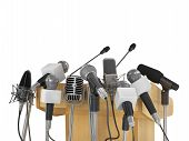 picture of tribunal  - Conference meeting microphones with tribune on white background - JPG