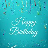 picture of confetti  - Happy birthday celebration background template with confetti and colorful ribbons - JPG