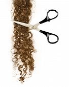 stock photo of hair streaks  - Scissors And Lock Of Hair On A White - JPG