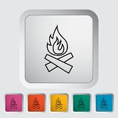 pic of bonfire  - Bonfire outline icon on the button - JPG