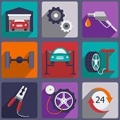 stock photo of garage  - Car repair icons set with mechanic service and garage tools vector illustration - JPG