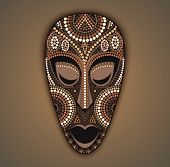 stock photo of african mask  - Vector colorful ethnic african mask with color dots - JPG