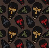 image of african mask  - Seamless vector pattern with ethnic african masks - JPG