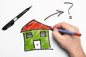 picture of pen  - Drawing Green House with black pen and blue pen - JPG
