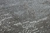 stock photo of shingles  - Old roof covered with shingles  - JPG