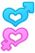 picture of hetero  - Heart shapes with male and female gender signs isolated on white - JPG