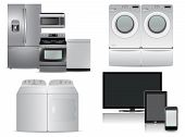 pic of kitchen appliance  - big set of modern kitchen appliances and electronics - JPG