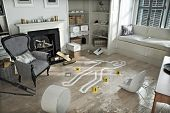 stock photo of crime scene  - Home invasion  - JPG
