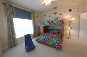 foto of bunk-bed  - A Bedroom with Bunk Beds Interior Shot of a Home - JPG