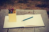 pic of pencils  - color pencils in vintage style - JPG