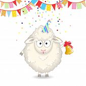 picture of sheep  - funny cartoon sheep with a bell congratulates - JPG