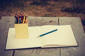 stock photo of pencils  - color pencils in vintage style - JPG
