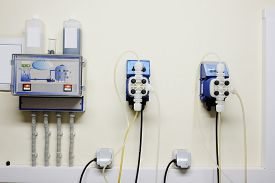 foto of disinfection  - Automatic station water disinfection in swimming pool - JPG