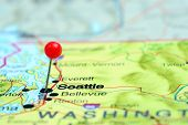 foto of usa map  - Photo of pinned Seattle on a map of USA - JPG