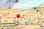 stock photo of usa map  - Photo of pinned Columbus on a map of USA - JPG