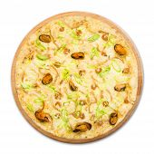 stock photo of leek  - Delicious seafood pizza with shrimps mussel olives and leek  - JPG