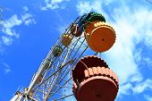 picture of ferris-wheel  - Ferris wheel on the background of the beautiful blue sky - JPG