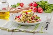 foto of radish  - Couscous with radishes and herbs topped herbs and olive oil simple but delicious vegetarian food - JPG