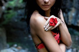 picture of rainforest  - beautiful sexy cute girl with black hair in a wet bathing suit with a flower in her hair and a ring on his finger in the dark rainforest among the rocks - JPG