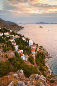 image of hydra  - Western end of the town of Hydra and view of the coastline and Peloponnese peninsula - JPG