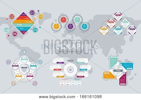 poster of Abstract infographic elements concept with stage and parts elements. Data infographic chart. Timeline and steps icon. Creative business infographic elements. Graph elements. Business infographic elements. Infographic icon. Business diagram timeline.