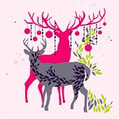 pic of christmas star  - colorful christmas reindeer - JPG