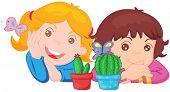 Abbildung von zwei Mädchen und zwei Kakteen