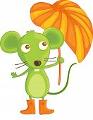 image of buck teeth  - mouse in boots with umbrella - JPG