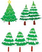 an illustration of six christmas trees