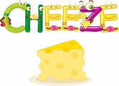 Illustration of cheeze alphabet on white background
