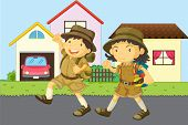 image of knee-high socks  - illustration of a boy and girl wearing uniform - JPG