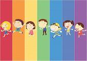Постер, плакат: Иллюстрация детей на фоне радуги
