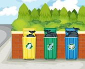 Illustration of dustbins on white background