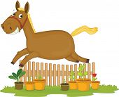 Illustration of A Jumping Horse on white background
