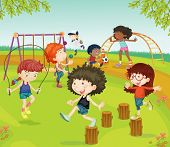 Illustration of Childrens Playing in Park on colorful background