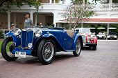 HUA HIN - DECEMBER 19: MG TC, 1949 and Morgan Plus4, 1963 . Classic Blue Car on Vintage Car Parade 2