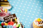stock photo of fancy cakes  - Happy birthday cakes - JPG