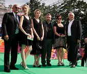 MOSCOW - JUNE 26: Nikita Mikhalkov, Louise Bourgoin, M. Mironova, Luc Besson, K. Saavedra and V. Heiduschka. Closing ceremony of 32nd Moscow Film Festival on June 26, 2010 in Moscow, Russia