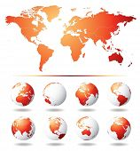 stock photo of world-globe  - Vector Globe and World Map - JPG