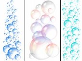 picture of bubble bath  - blue water and soap bubbles on white background - JPG