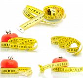 Set tomato and measuring tape diet concept