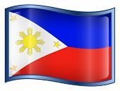 Philippines Flag Icon. ( With Clipping Path )