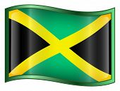 Jamaica Flag Icon. ( With Clipping Path )