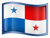 Panama Flag Icon. (With Clipping Path)