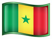Senegal Flag Icon. ( With Clipping Path )