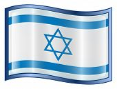 Israel Flag Icon. (With Clipping Path)