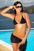 Schwarzer Bikini girl