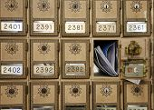 vintage post office boxes with mail poster