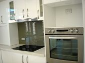 image of kitchen appliance  - Stainless Steel kitchen appliances in a modern kitchen - JPG