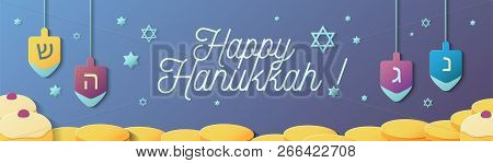 Happy Hanukkah Banner Design With